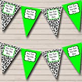 Black White Lime Green Animal Print Personalized Birthday Party Bunting Banner