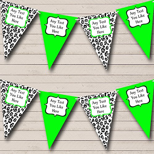 Black White Lime Green Animal Print Personalized Birthday Party Bunting Banner by The Card Zoo