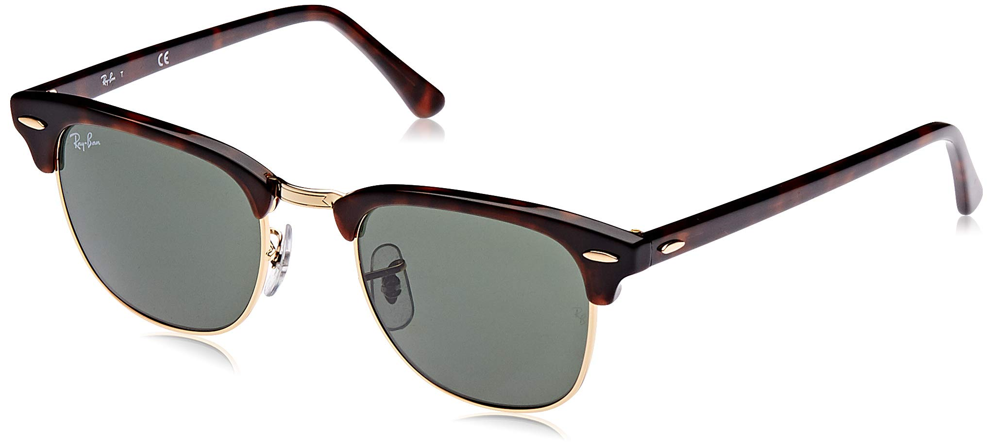 RAY-BAN RB3016 Clubmaster Square Sunglasses, Mock Tortoise Gold/Green, 49 mm by RAY-BAN