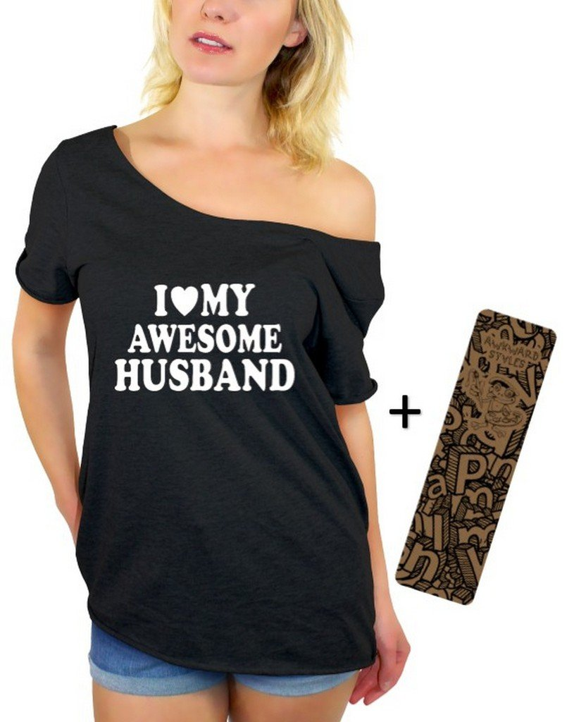 Awkwardstyles I Love My Awesome Husband Off Shoulder Tops T-Shirt + Bookmark L Black by Awkward Styles (Image #2)