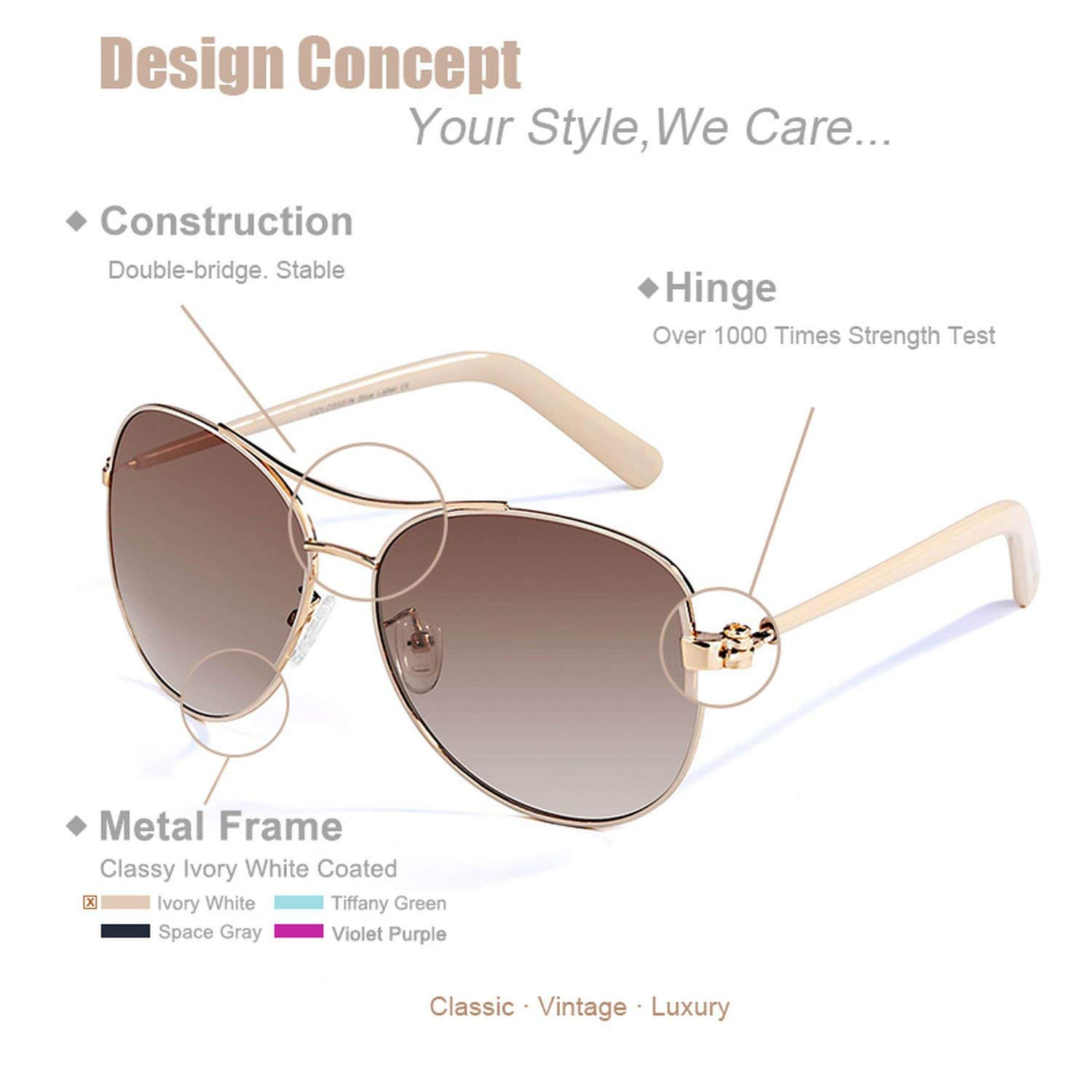 Amazon.com: Dress-shop Sunglasses Women Fashion Gold Frame ...
