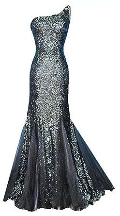 757068538f Amazon.com  Snow Lotus Women s Black One Shoulder Evening Dress ...