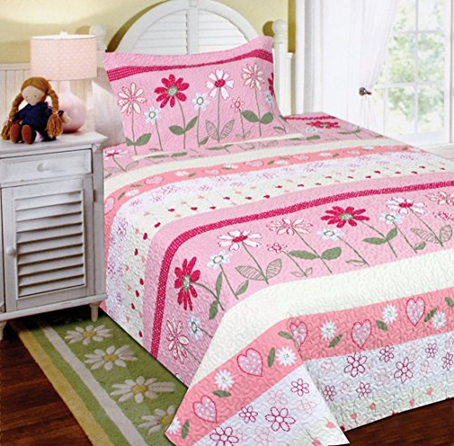 Fancy Collection 2pc Twin Size Bedspread Set Flowers Hearts Pink White Green - Flower Heart Pink