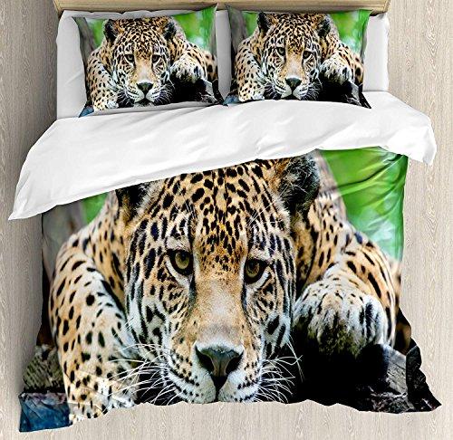 ART DECOR HOME Jungle Duvet, South American Jaguar Wild Animal Carnivore Endangered Feline Safari Image, Decorative Duvet Cover Bed Sheet with 2 Pillow Cases Covers, Orange Black Green(Full)
