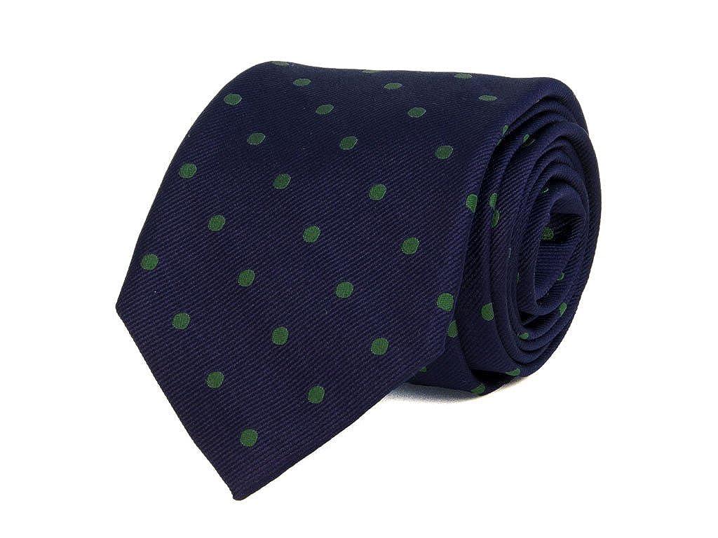 40 colores- Corbata de seda tinta única, de lunares azul marino y ...