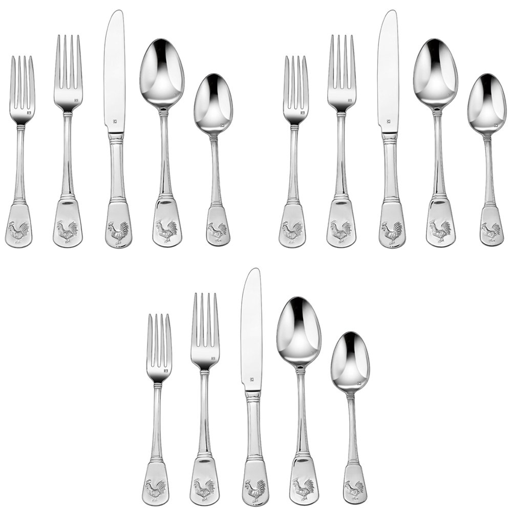 3-Pack of 20-Piece Flatware Set, French Rooster (CFE-01-FR20)