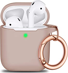 AirPods Case Cover with Circle Keychain, Full Protective Silicone AirPods Accessories Skin Cover for Women Girl with Apple AirPods Wireless Charging Case,Front LED Visible-Milk Tea