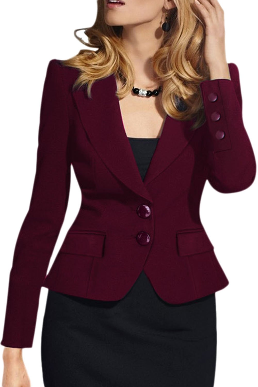 Fanvans Women Elegant Long Sleeve Slim Bodycon Business Button Suit UKK68