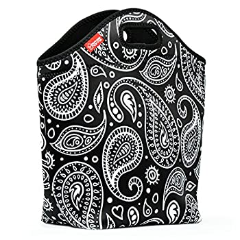 """Neoprene Lunch Tote - Yookeehome 14"""" x 14"""" x 5.5"""" Extra Large Insulated Lunch Bag Box for Women Girls Adult Students Great for Picnic Travel Work School, Paisley"""