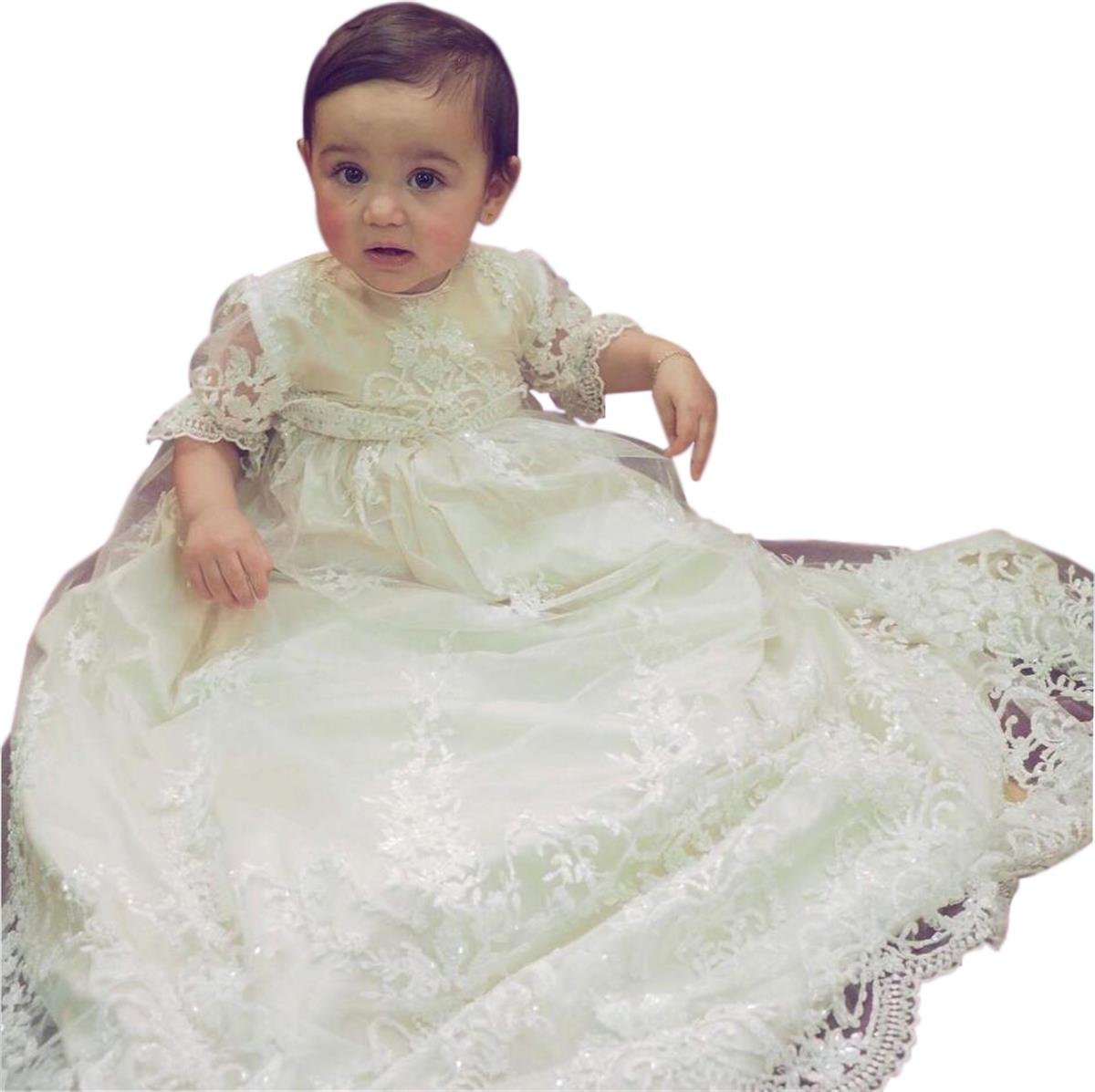 Pretydress Baby Lace Satin Christening Dress Baptism Gowns with Bonnet mws