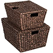 Best Choice Products Set Of 2 Water Hyacinth Tapered Storage Basket Chests W/Attached Lid Handle Brushed Espresso