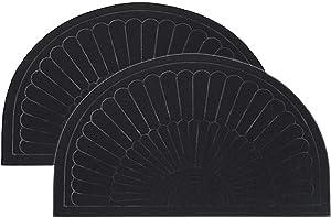 Rubber Doormat Indoor Outdoor Half Round Door Mat Set of 2, Low Profile Welcome Mat with Non Slip Backing Absorbent Shoe Scraper Floor Mat Entry Rug, 18