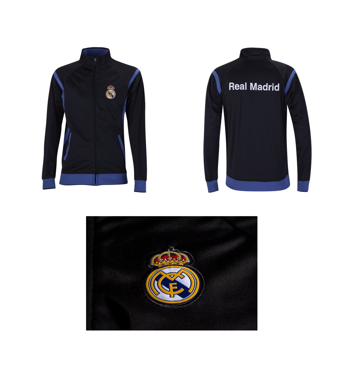 Real Madrid Track Jacket Youth Boys Zip Front