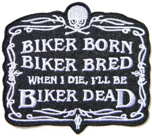 - BORN BRED DEAD BIKER Skull Ghost Funny Motorcycles Biker Rider Chopper Punk Rock Tatoo Jacket T-shirt Patch Sew Iron on Embroidered Sign Badge Costume