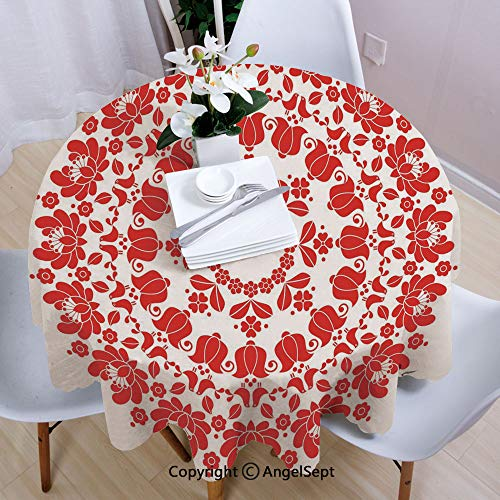 (AngelSept Polyester Round Tablecloth,Hungarian Round Folk Art Pattern Tulips Traditional Kalocsai Old Fashioned Decorative,63