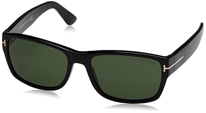 7f156f6173fd4 TOM FORD Men s Mason TF445 01N Shiny Black Green Rectangular Sunglasses 58mm