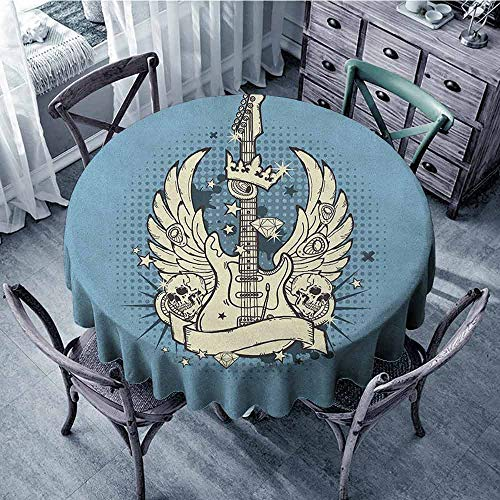 ScottDecor Food Round Tablecloth Outdoor Picnics Guitar,Rock n Roll Composition Crown Wings Skulls Stars on Retro Grunge Backdrop, Pale Blue Ivory Black Diameter 54