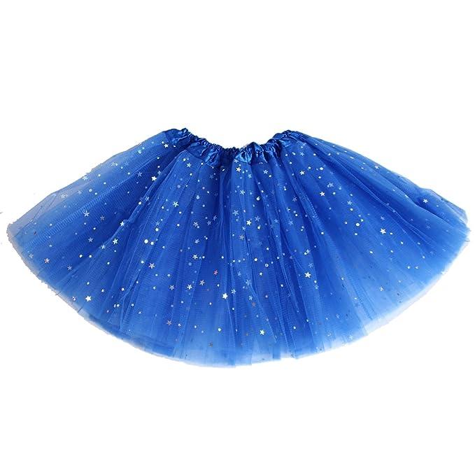 25458d6518 AMORETU Mujer Niña Cortas Tutu Falda Tul Enaguas para Disfraz Halloween  4 5000 Azul  Amazon.es  Ropa y accesorios