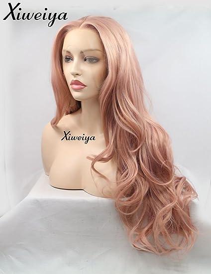 Xiweiya Peluca de pelo largo ondulado de cuerpo natural de oro rosa para mujer pelo de