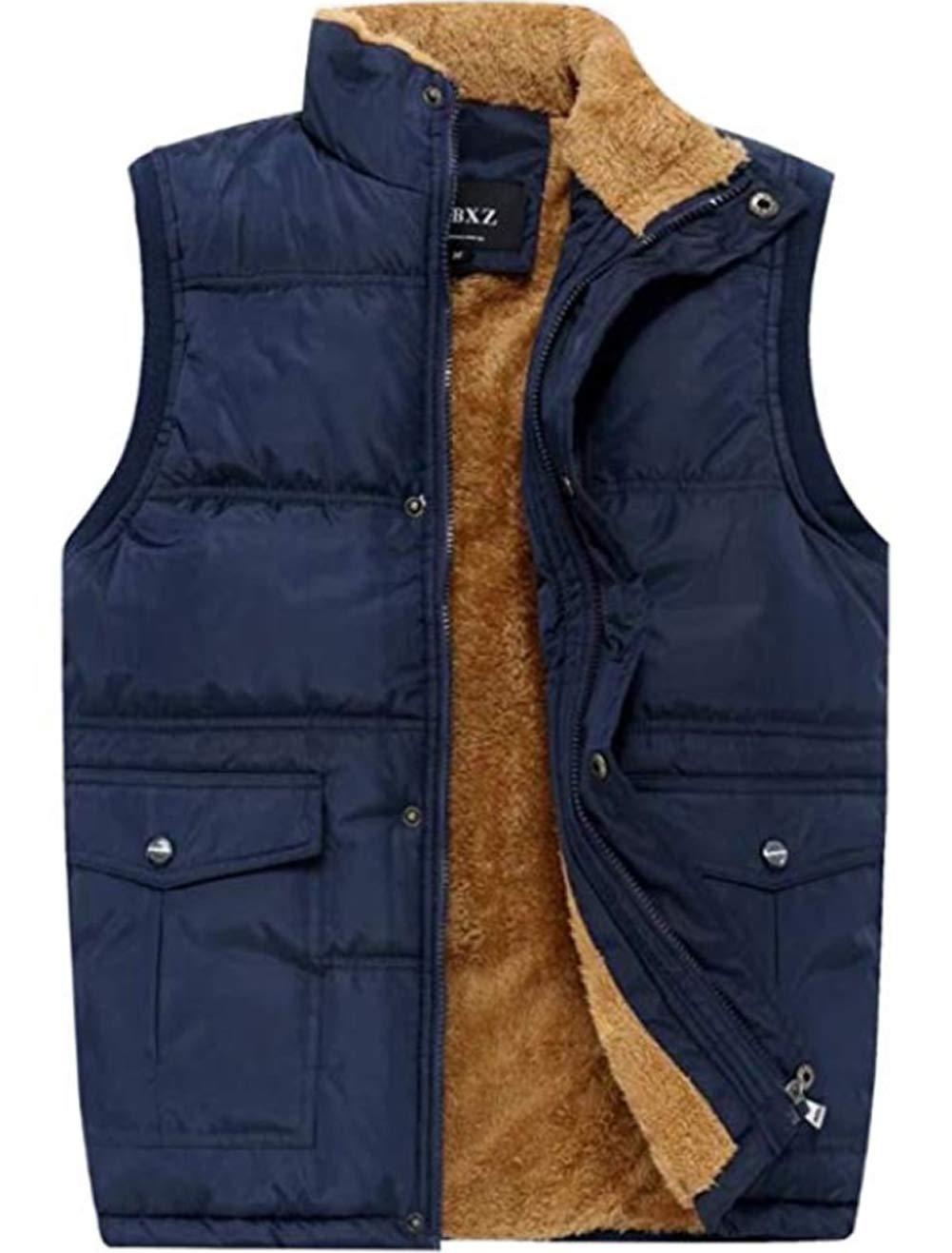 XinYangNi Men's Winter Warm Outdoor Padded Puffer Lightweight Vest Thick Fleece Lined Sleeveless Jacket Blue US XL/Asia 5XL by XinYangNi
