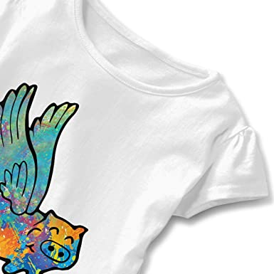 Flying Pig Animal Watercolor Toddler Baby Girls Short Sleeve Ruffle T-Shirt