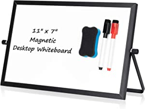 "Small Desktop White Board – 7"" x 11"" Portable Mini Dry Erase Whiteboard for Students Double Side to Do List Dry Erase Board with Stand for Office, School, Home"