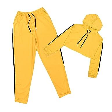 Hibote Survêtement Ensemble pour Femme Mode Suit Manches Longues Rayé Crop  Tops à Capuche et Pantalons Longue 2pcs Jogging Sportswear  Amazon.fr   Vêtements ... 10aed9a41c7