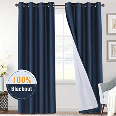 100% Blackout Navy Curtains 84 Length Full Light Blocking Grommet Curtain Drapes for Nursery/Bedroom, Thermal Insulated Energy Efficient Noise Reducing Draperies for Living Room/Patio, Set of 2: Home & Kitchen