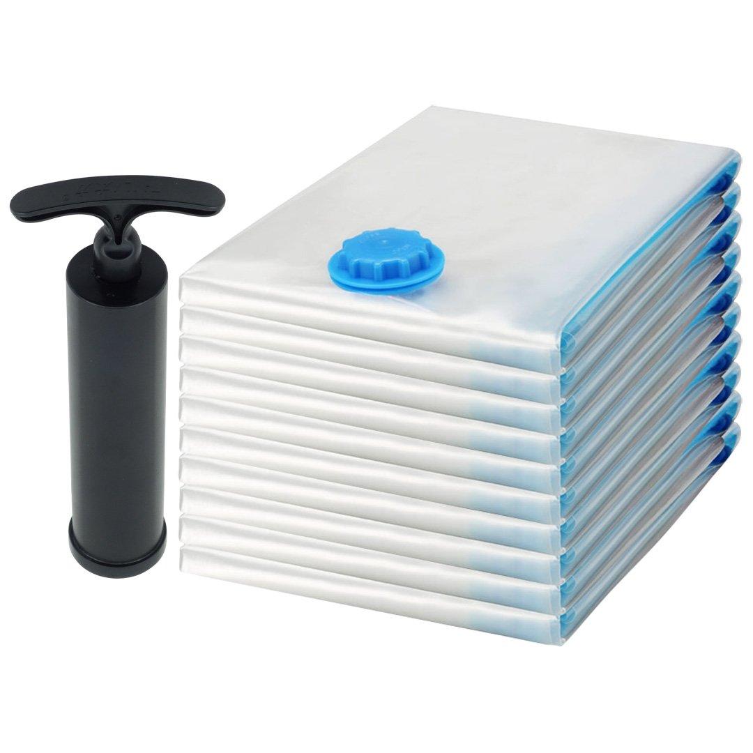 Felji Space Saver Bags Vacuum Seal Storage Bag Organizer Variety 10 Pack (2 Small, 2 Medium, 2 Large, 2 Extra Large, 2 Jumbo) Plus Free Pump