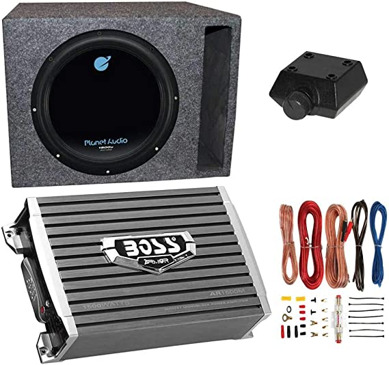 Planet Audio 1800W Subwoofer + Boss 1500W Amplifier + Remote & Wiring on audio wiring, power wiring, amp wiring, soundbar wiring, usb wiring, speaker wiring, air conditioning wiring, av receiver wiring, woofer wiring, cruise control wiring, automatic headlights wiring, sub wiring, keyboard wiring, amplifier wiring, sound wiring, bass wiring, surround wiring, crossover wiring,