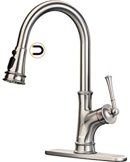 APPASO Pull Down Kitchen Faucet with Magnetic Docking Sprayer, Single Handle High Arc Single Hole Pull Out Kitchen Sink Faucets with Deck Plate, Stainless Steel Brushed Nickel