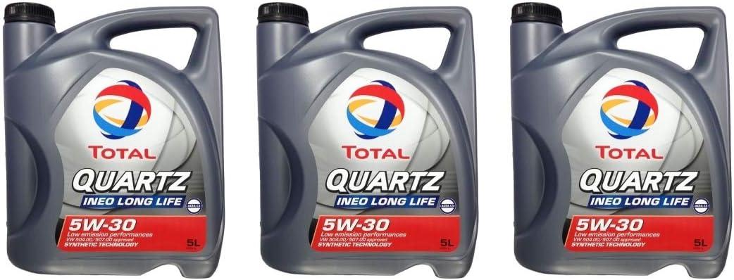 Topcar24 3 x 5 l Total Quartz Ineo Longlife 5 W de 30 + anhäng de Aceite (15 litros): Amazon.es: Coche y moto