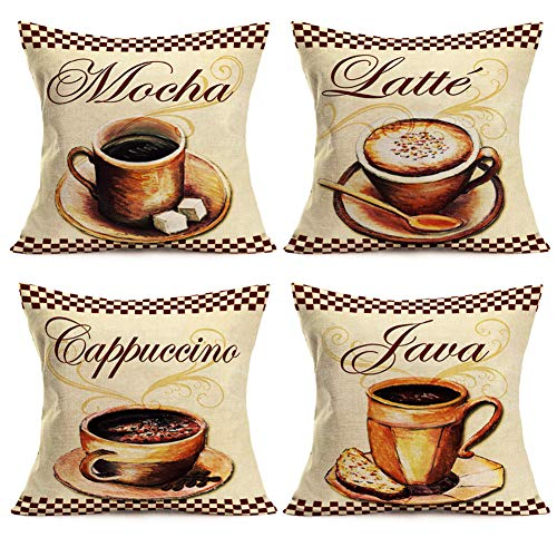 Smilyard Throw Pillow Covers Vintage Coffee Print Decorative Pillow CaseMochaLatte Cappuccino Java Lettering Decor Cushion Cover Cotton Linen 18x18 Inch Coffee Lover Pillow Cover 4 -