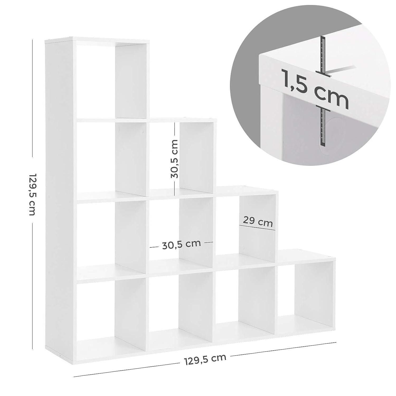 Ausstellungsregal aus Holz freistehendes Regal VASAGLE B/ücherregal Raumteiler Treppen 10 W/ürfel-F/ächer Wei/ß LBC10WTV1