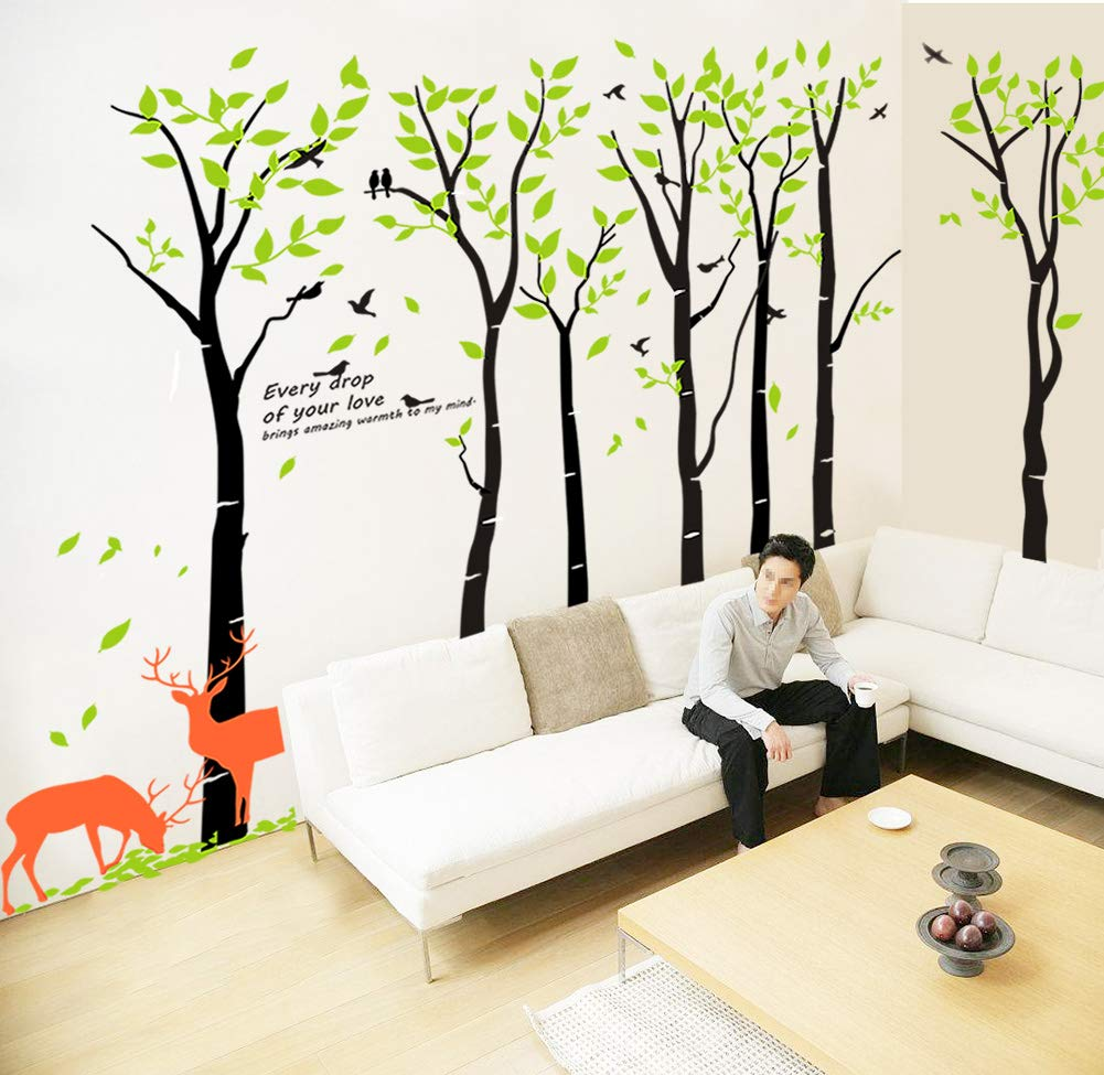 Mix Decor Tree Wall Decal - 7 Trees Wall Sticker Large Family Forest for Livingroom Kid Baby Nursery Room Deer Wooland Decoration Party Birthday Gift,118x83 Inch Black + Green