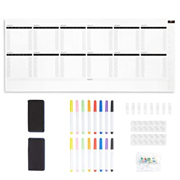 Resonating Designs Large Undated Dry Erase Wall Calendar for 2019 and 2020-42 x 98 inches Jumbo Wall Calendar and 12 Month Planner - Reusable Giant ...