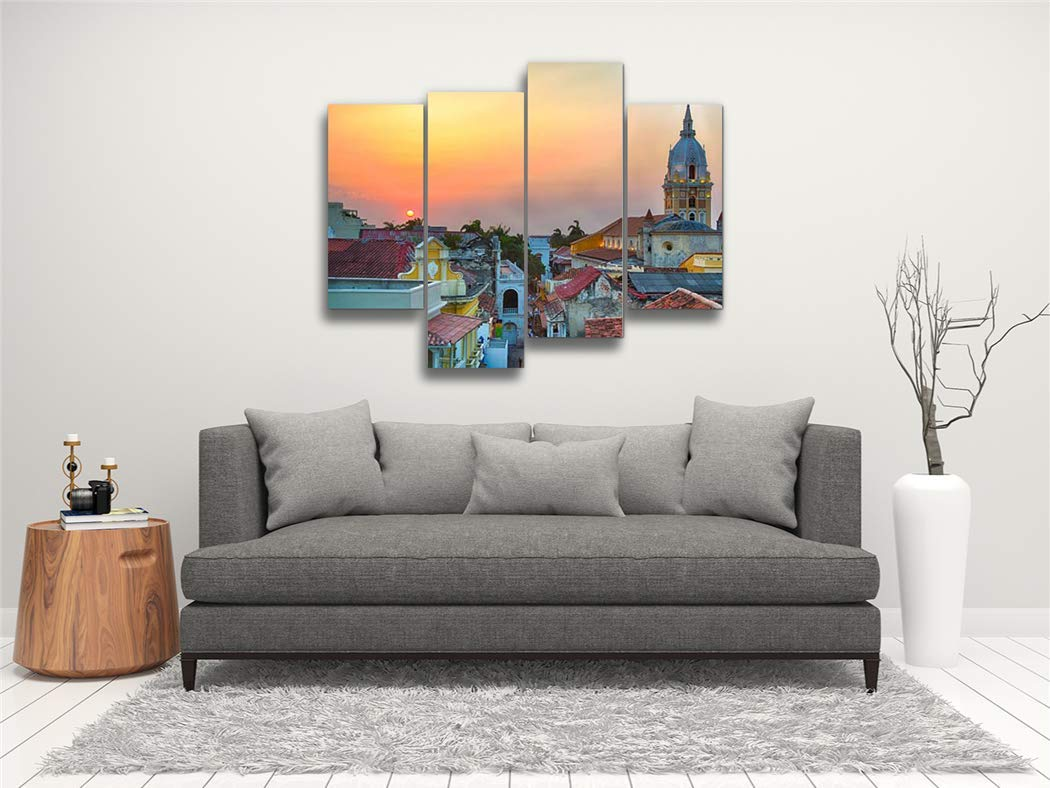 Sunset Over Cartagena Canvas Wall Art Hanging Paintings Modern Artwork Abstract Picture Prints Home Decoration Gift Unique Designed Framed 4 Panel