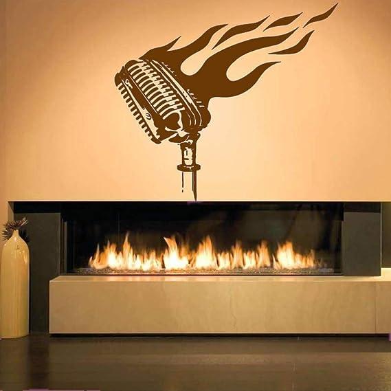 zqyjhkou Micrófono Retro en Llamas Pegatinas de Pared para Sala de música Fondo de Pantalla Impermeable Vinilo Tatuajes de Pared Murales para el hogar 1 65X57cm: Amazon.es: Hogar