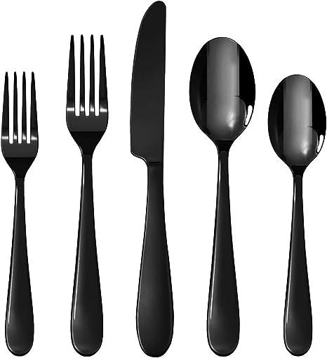 Stainless Steel Cutlery Sets Black Spoons Forks 4//8//12//16//20 piece Dinner Set