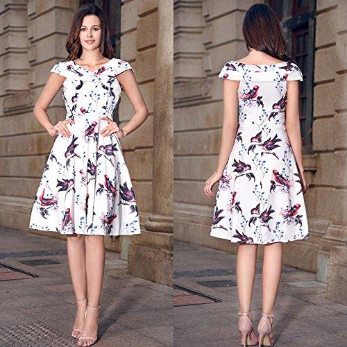 Ruiyige - Vestido - para mujer Mancherons-Impression Oiseau Blanc