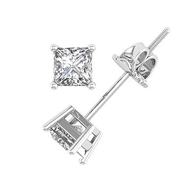 866b6cfe9 Amazon.com: Princess Cut Diamond Stud Earrings in 14K White Gold (1/10  Carat) - IGI Certified: Jewelry
