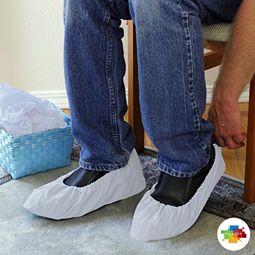 "Price comparison product image Valutek Disposable Shoe Covers 100 pieces, Waterproof / Polyethylene / Elastic Ankle Cuff, 18"" Length VTSHCVPLHWX"
