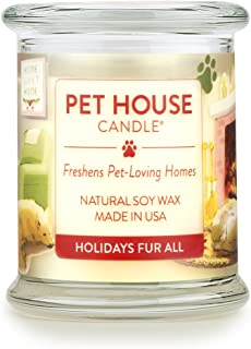product image for One Fur All 100% Natural Soy Wax Candle, 20 Fragrances - Pet Odor Eliminator, Appx 60 Hrs Burn Time, Non-Toxic, Eco-Friendly Reusable Glass Jar Scented Candles – Pet House Candle, Holidays Fur All