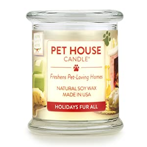 One Fur All 100% Natural Soy Wax Candle, 20 Fragrances - Pet Odor Eliminator, Appx 60 Hrs Burn Time, Non-toxic, Eco-Friendly Reusable Glass Jar Scented Candles – Pet House Candle, Holidays Fur All
