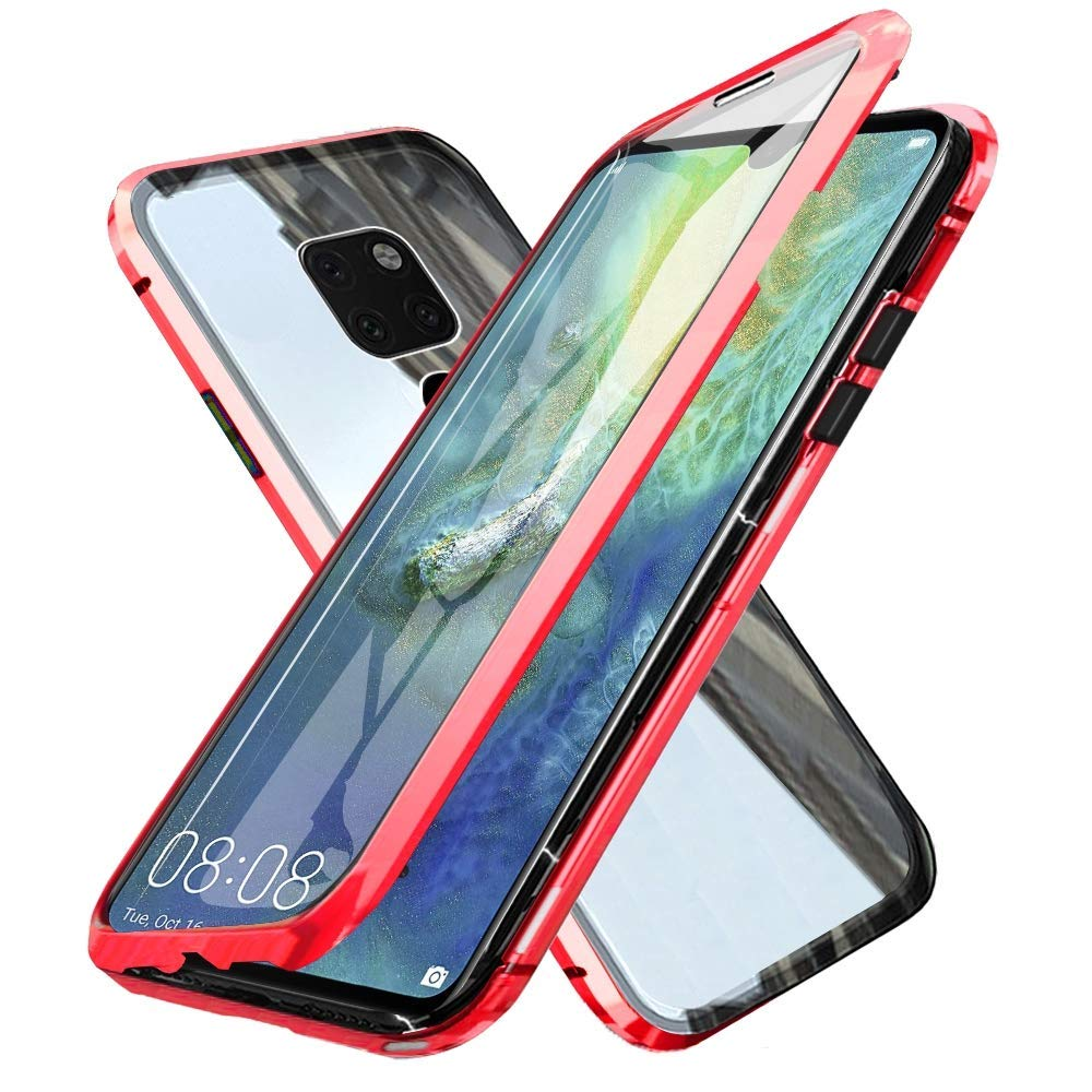 Oihxsetx Compatible for Huawei Mate 10 Pro Magnetic Adsorption Double Side Tempered Glass Case,Ultra-Thin Magnetic Metal Frame Full Body Protection Cover Support Wireless Charging -Red by Oihxsetx