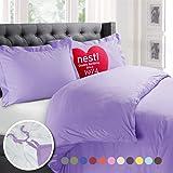 Nestl Bedding Duvet Cover, Protects and Covers your Comforter / Duvet Insert, Luxury 100% Super Soft Microfiber, Queen Size, Color Lavender Light Purple 3 Piece Duvet Cover Set Includes 2 Pillow Shams