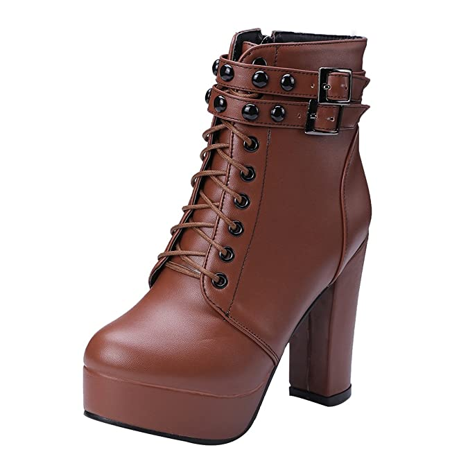 UH Damen Blockabsatz Plateau High Heel Stiefeletten Schnür Boots mit Fell Nieten und Reißverschluss Warm Schuhe zpRIVfE