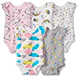 Rosie Pope Girls' 5 Pack Bodysuit, Rainbow, 6-9 Months