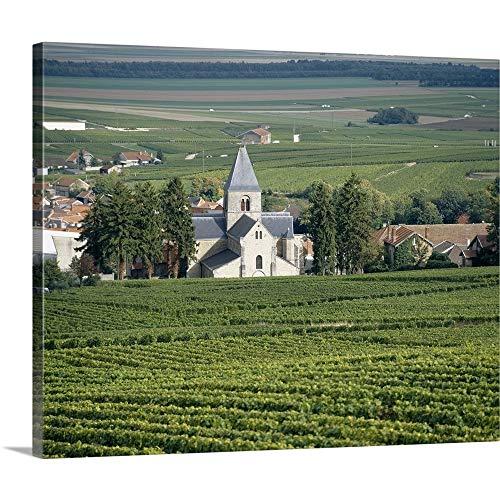 GREATBIGCANVAS Gallery-Wrapped Canvas Entitled Vineyard Near a Village, Le Mesnil-Sur-Oger, Cote Des Blancs, Champagne, France by 48