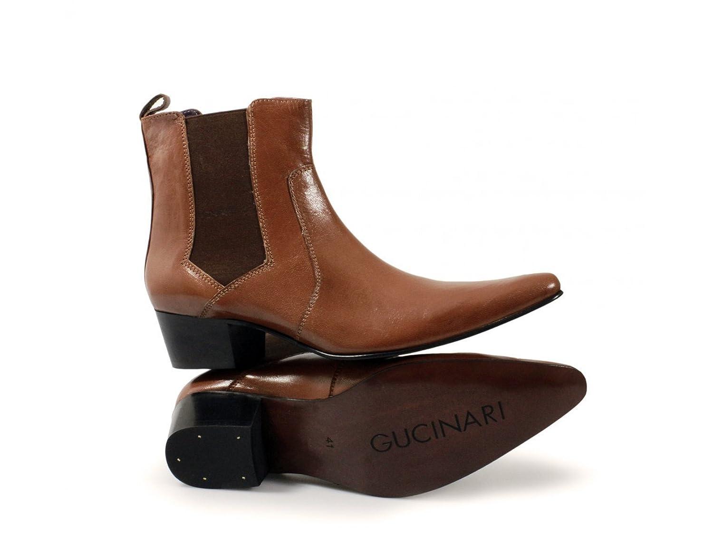 Gucinari ROMEO Mens Cuban Heel Winklepicker Chelsea Boots Tan:  Amazon.co.uk: Shoes & Bags